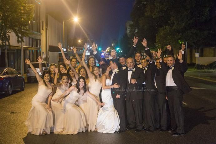 Downtown Birmingham wedding party
