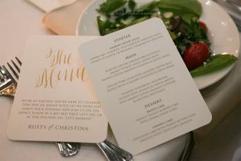 Harbert Center Wedding Menus