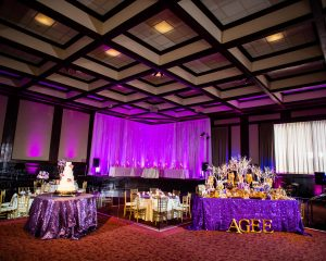 Purple Wedding Reception Cake Candy Table Beeson Hall